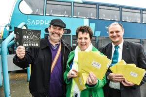 Kenneth Grifitths from Arriva with John and Dij Priday in front ofthe bus
